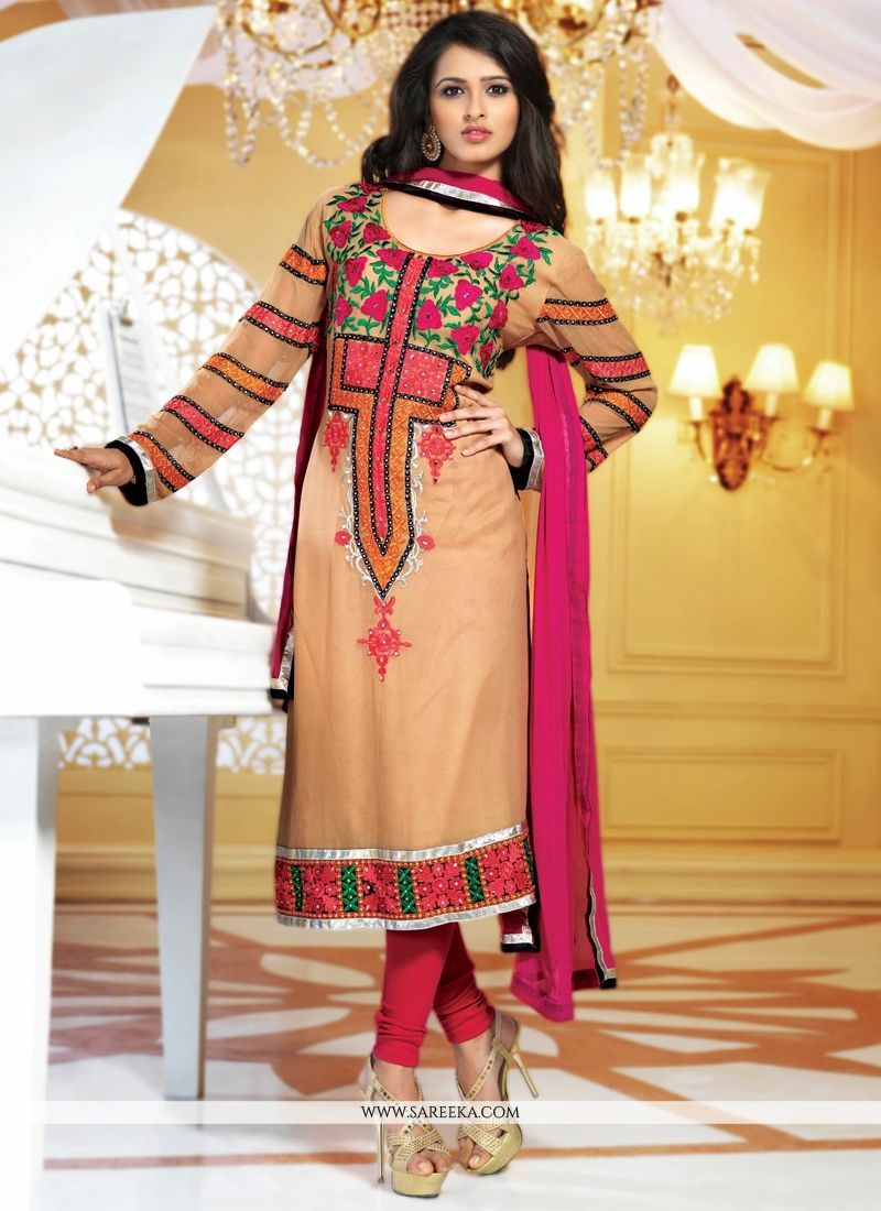 Brown Viscose Georgette Churidar Suit