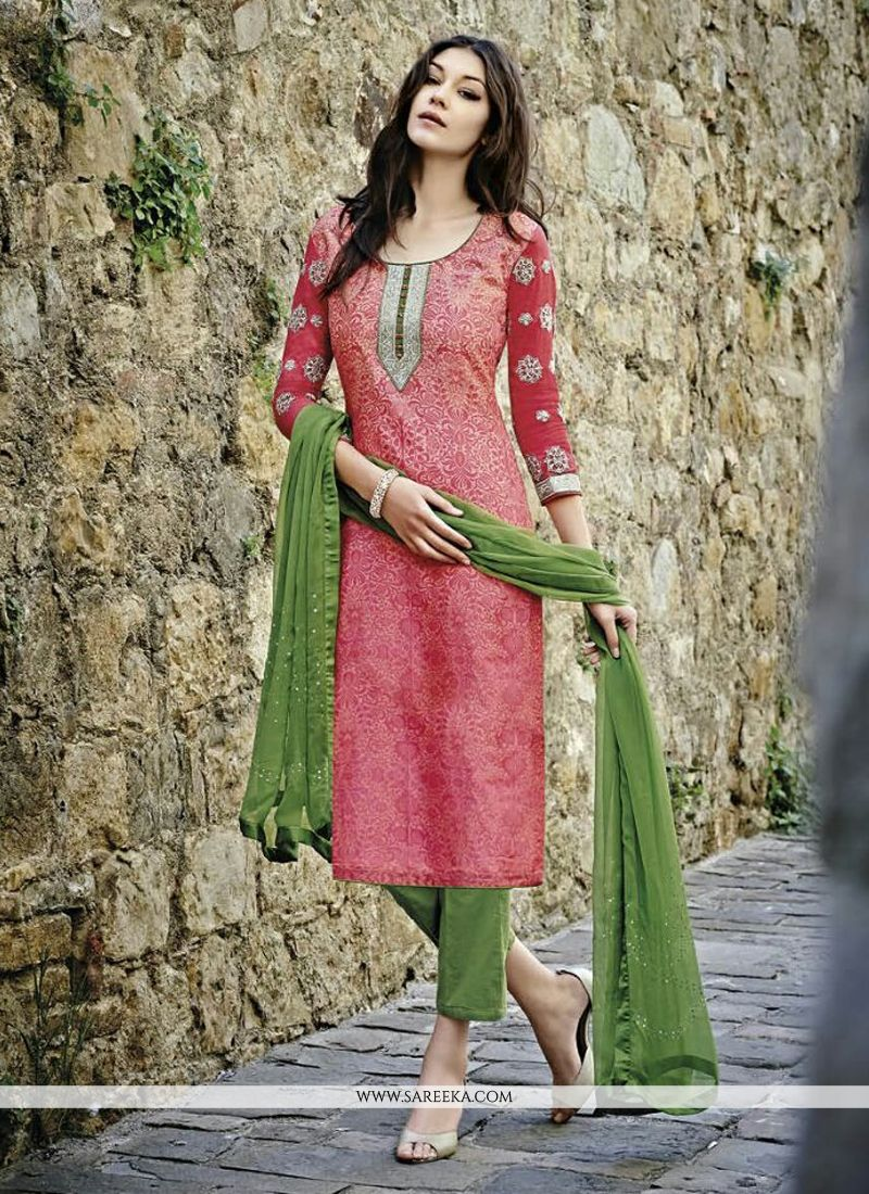 Chanderi Multi Colour Print Work Designer Straight Suit