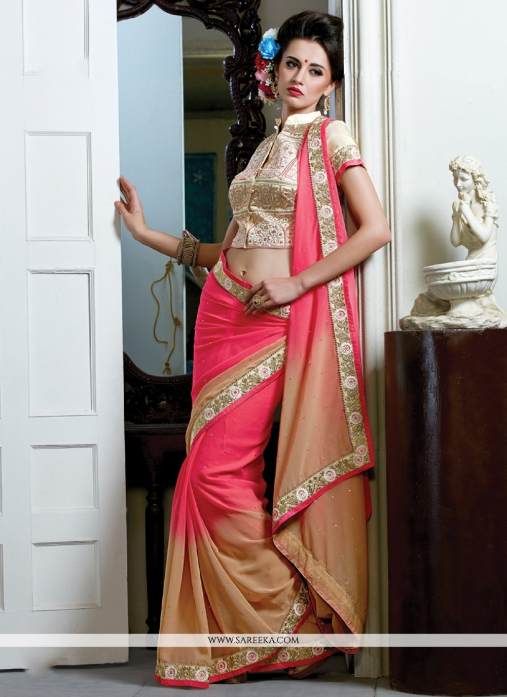 Hot Pink and Beige Zari Work Designer Saree