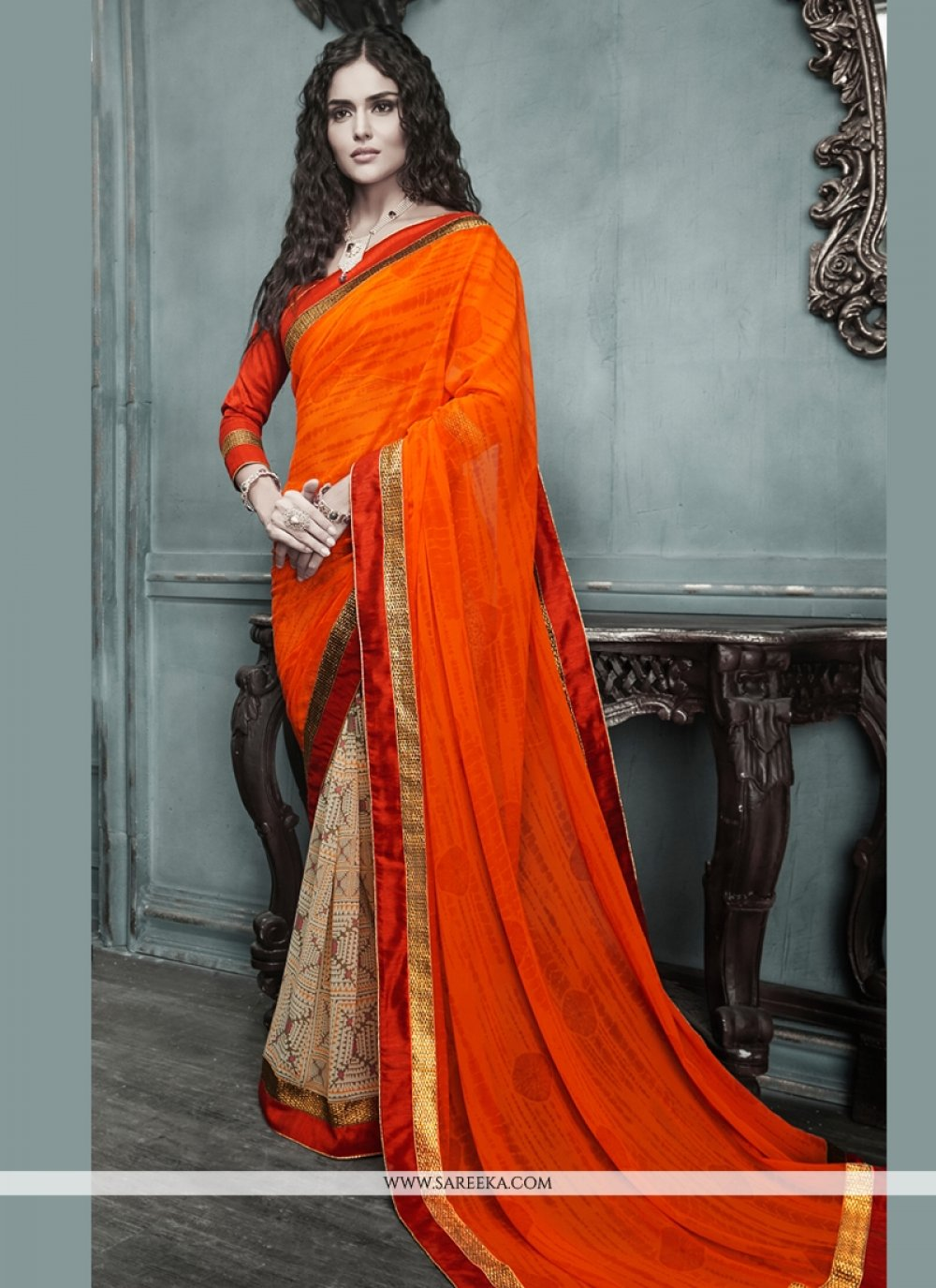 Orange And Cream Georgette Casual Saree