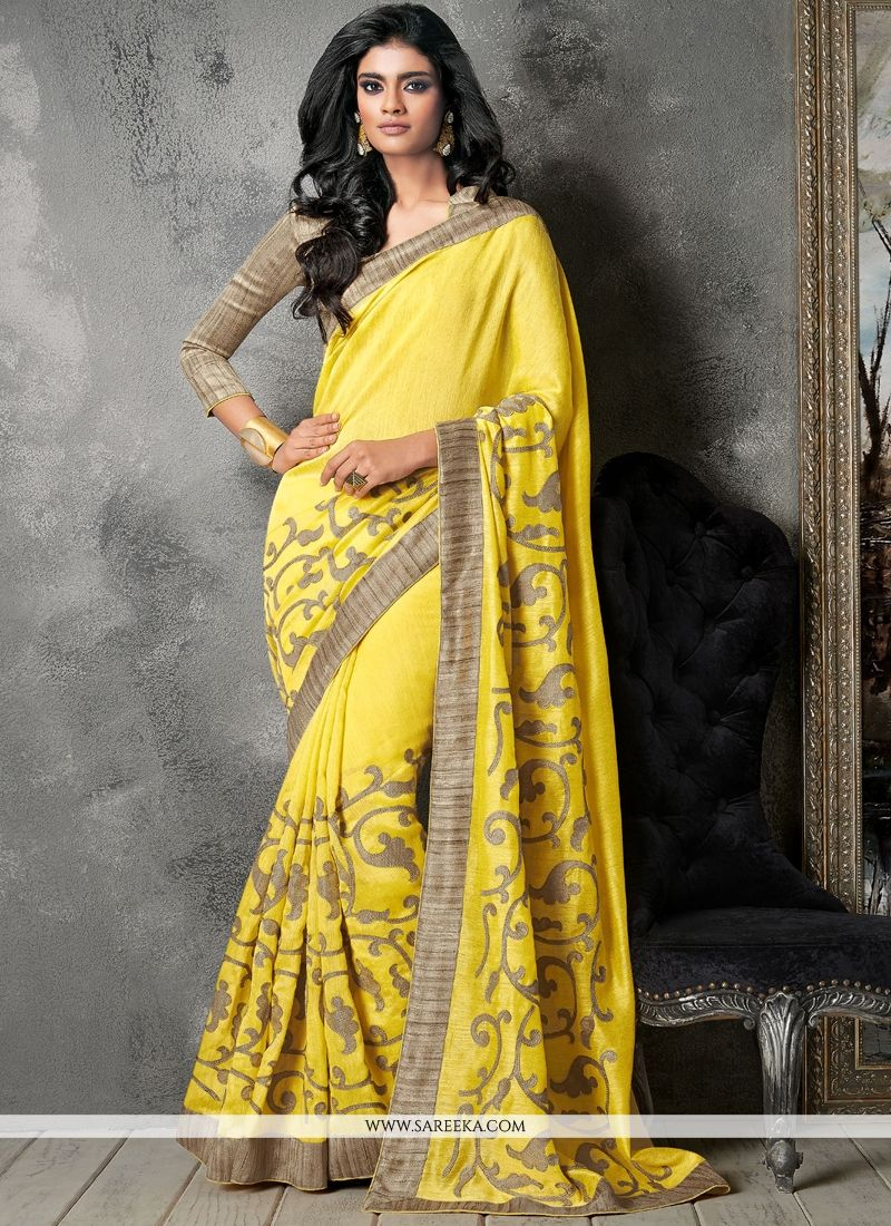 Patch Border Work Yellow Designer Saree