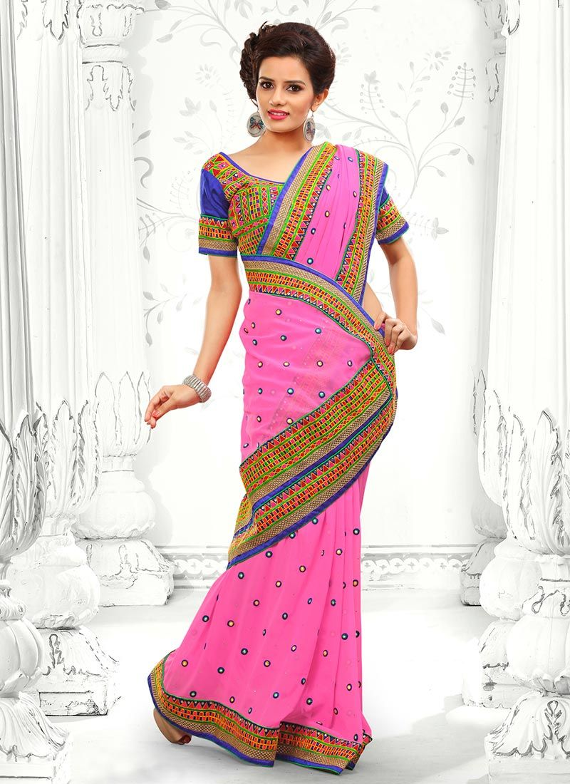 Pink Faux Georgette Saree