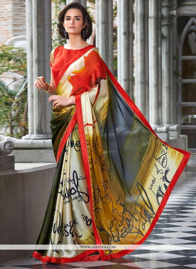 Satin Multi Colour Print Work Casual Saree