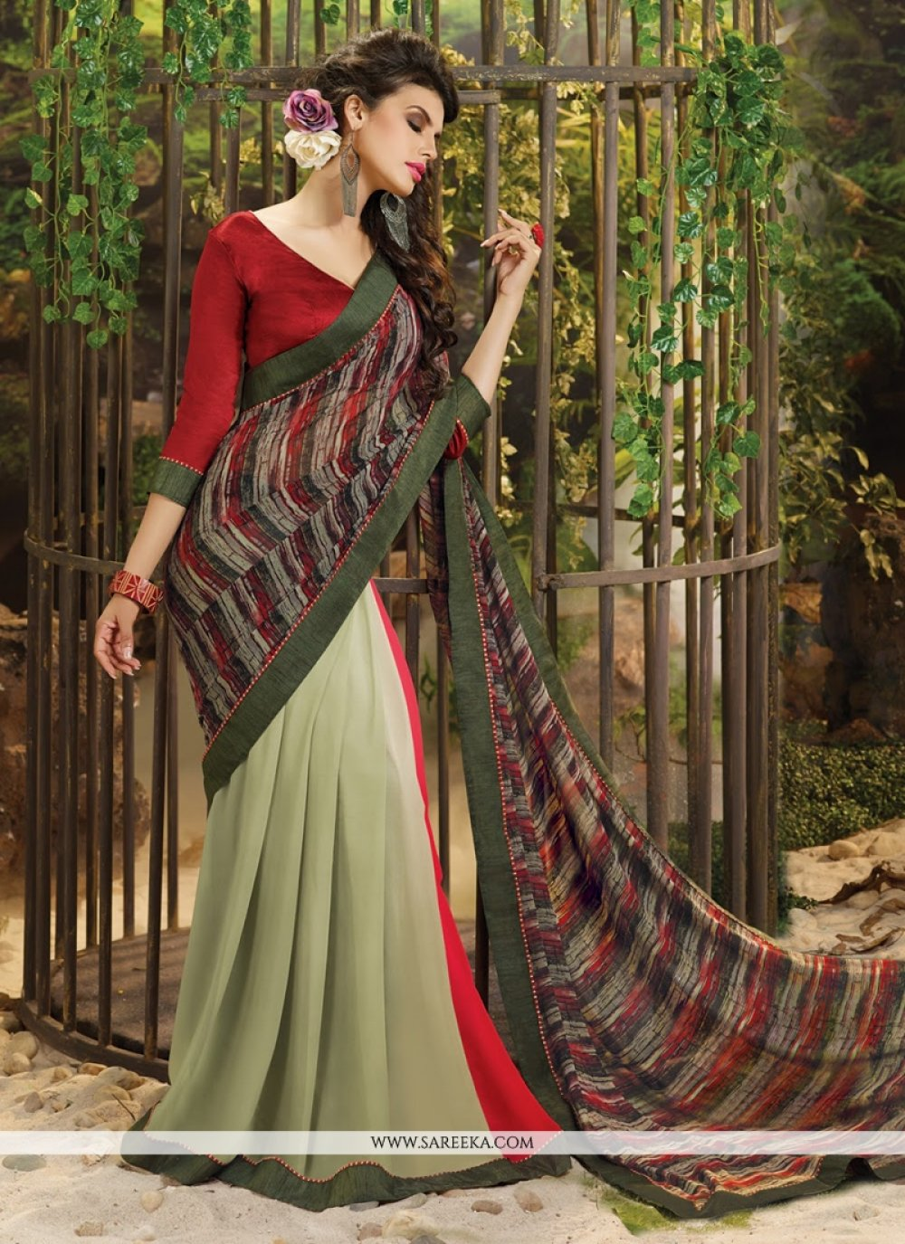 Weight Less Lace Work Casual Saree