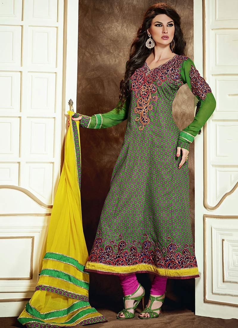 Mesmerize Green Printed Cotton Churidar Suit