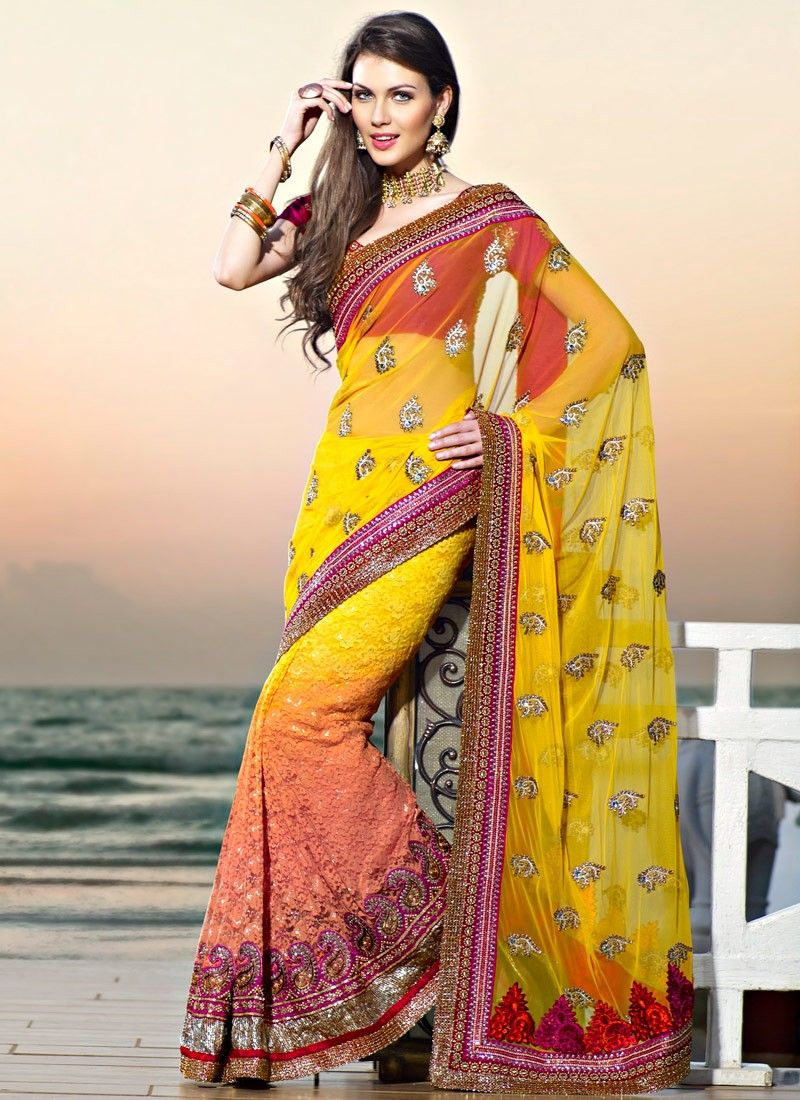 Apricot & Gold Color Embroidered Saree