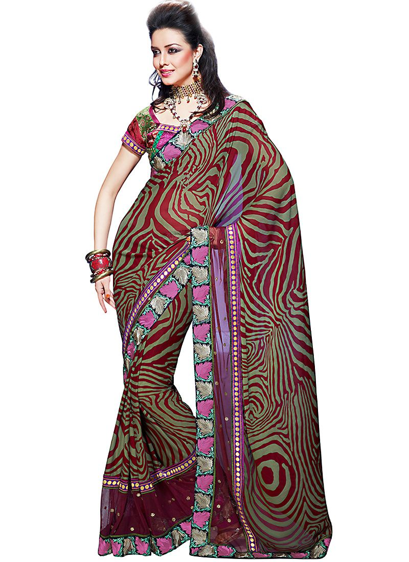 Bick Red & Bluish Purple Embroidered Saree
