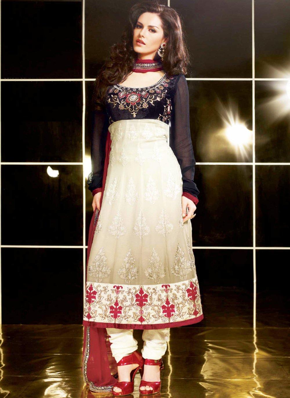 Black & Ivory Anarkali Suit