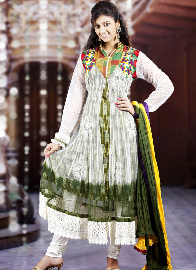 Bottle Green & White Salwar Kameez