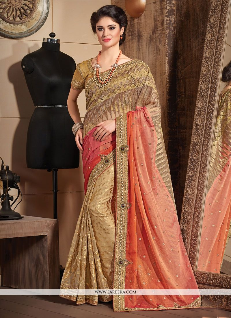Brasso Orange and Beige Designer Saree