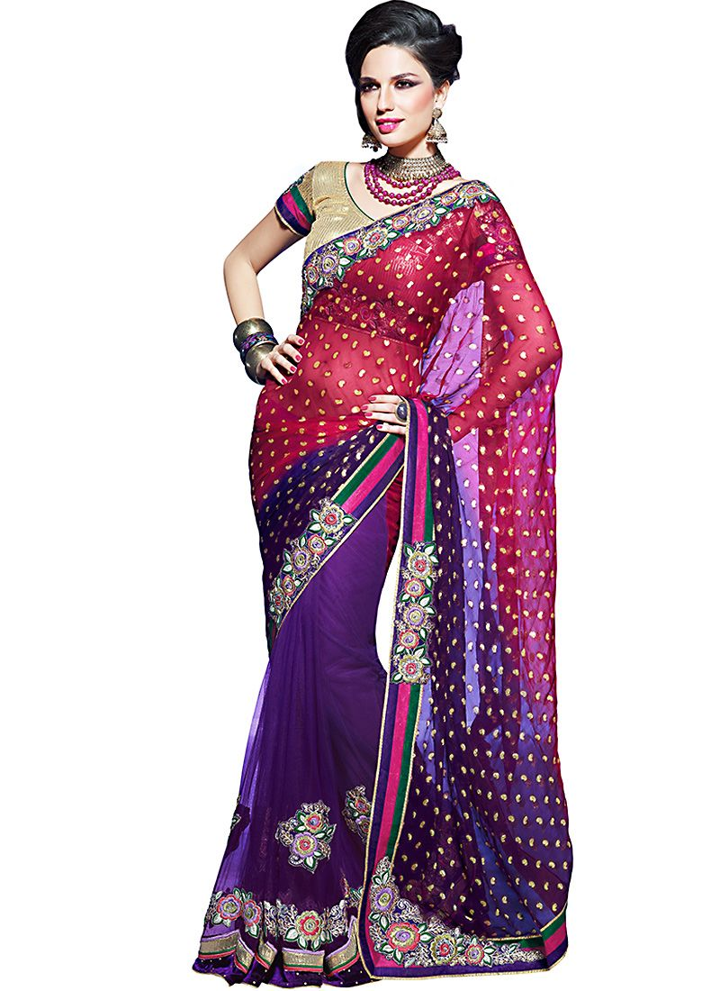 Deep Bluish Purple & Deep Deep Pink Embroidered Saree