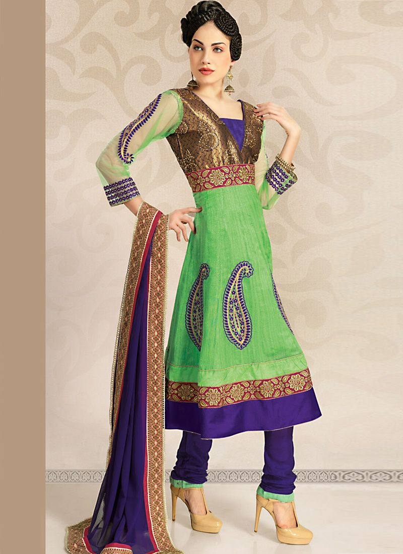 Deep Purple & Honeydew Salwar Kameez