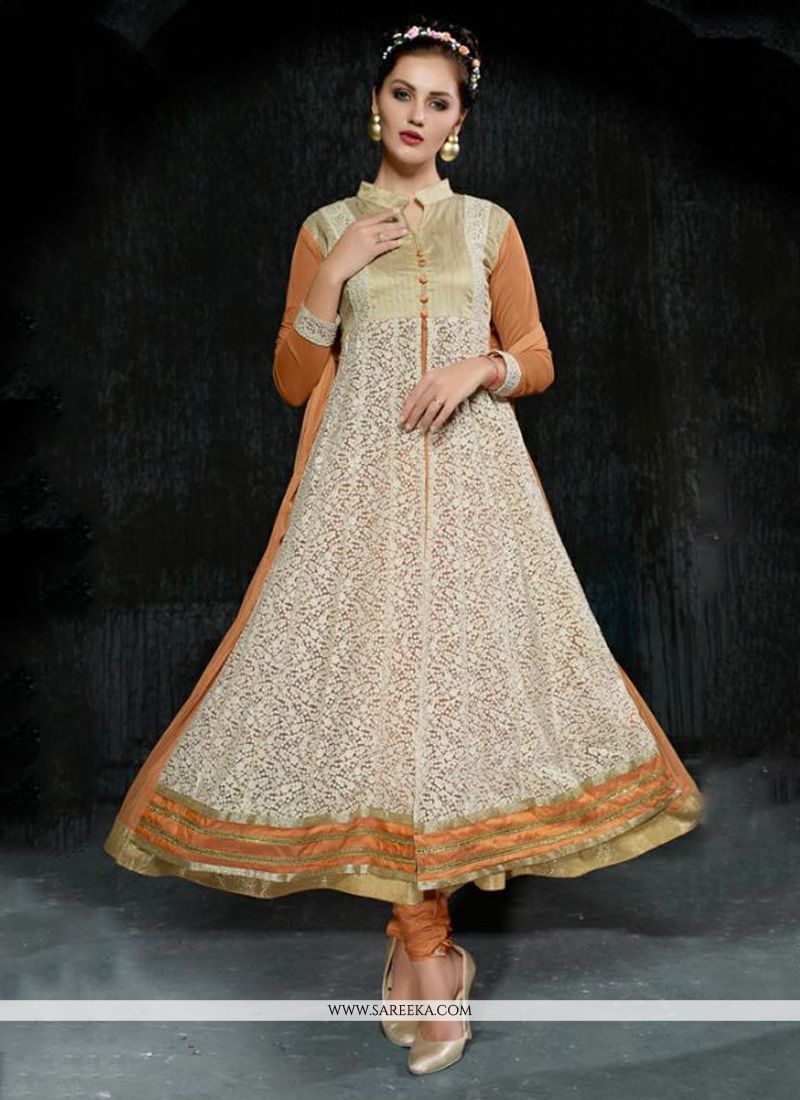 Embroidered Work Beige Net Anarkali Salwar Suit