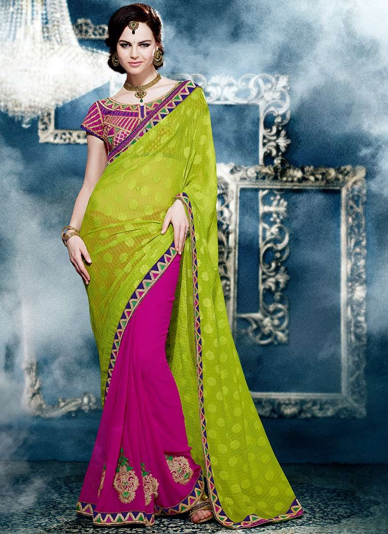 Green And Magenta Jacquard Saree