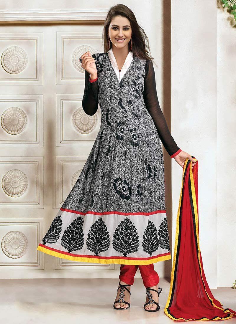 Grey Georgette Printed Churidar Suit