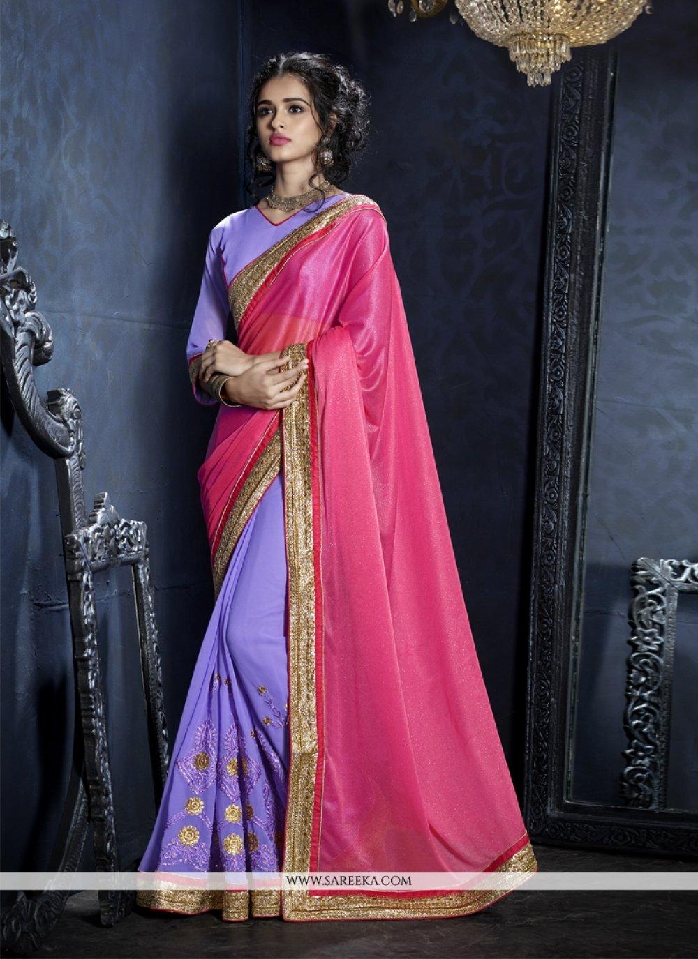 Hot Pink Resham Work Designer Saree