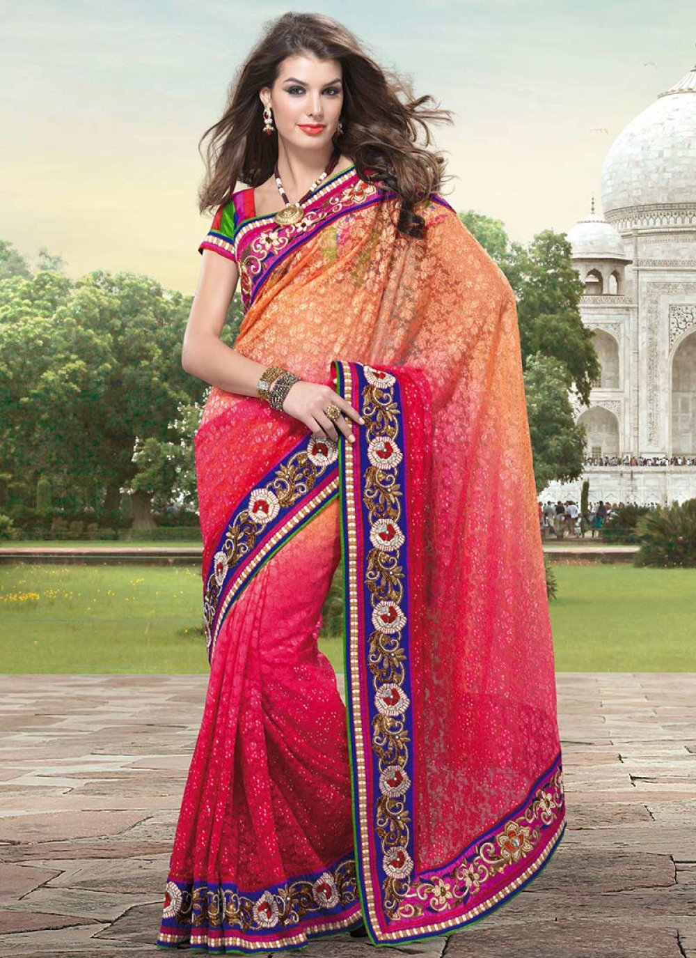 Pink And Orange Fancy Net Saree