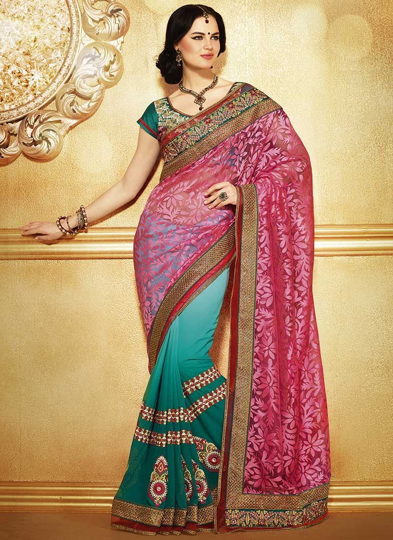 Pink And Teal Brasso Half And Half Saree