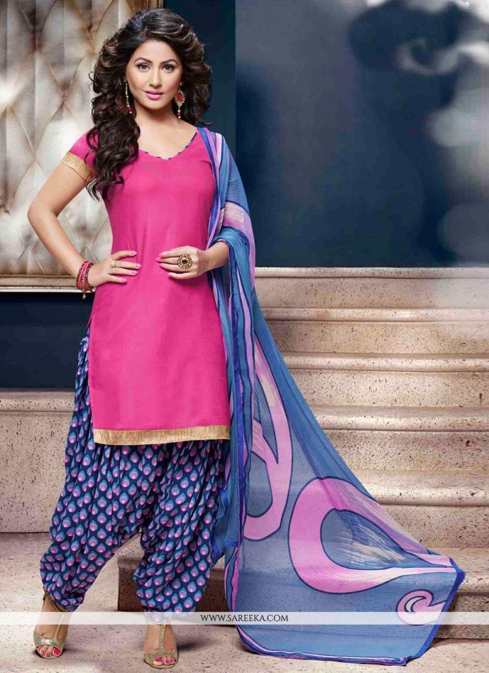 Pink Lace Work Cotton   Designer Patiala Suit