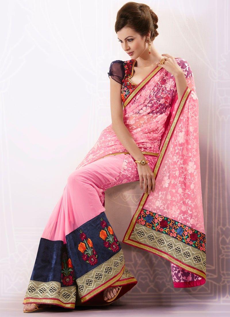 Pink Net And Faux Chiffon Saree