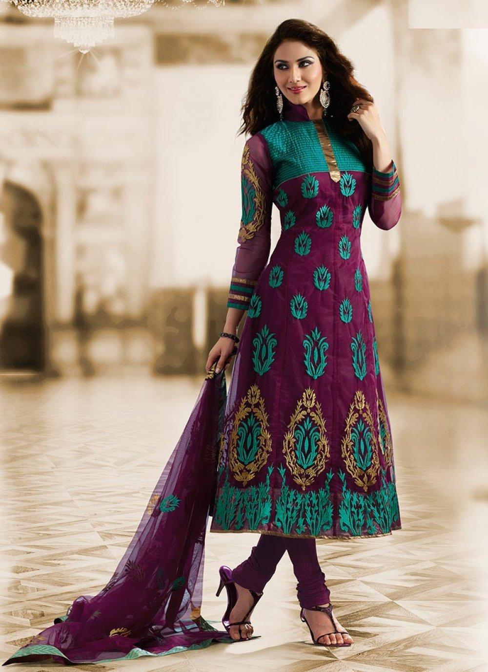 Pink & Tal Blue Salwar Kameez