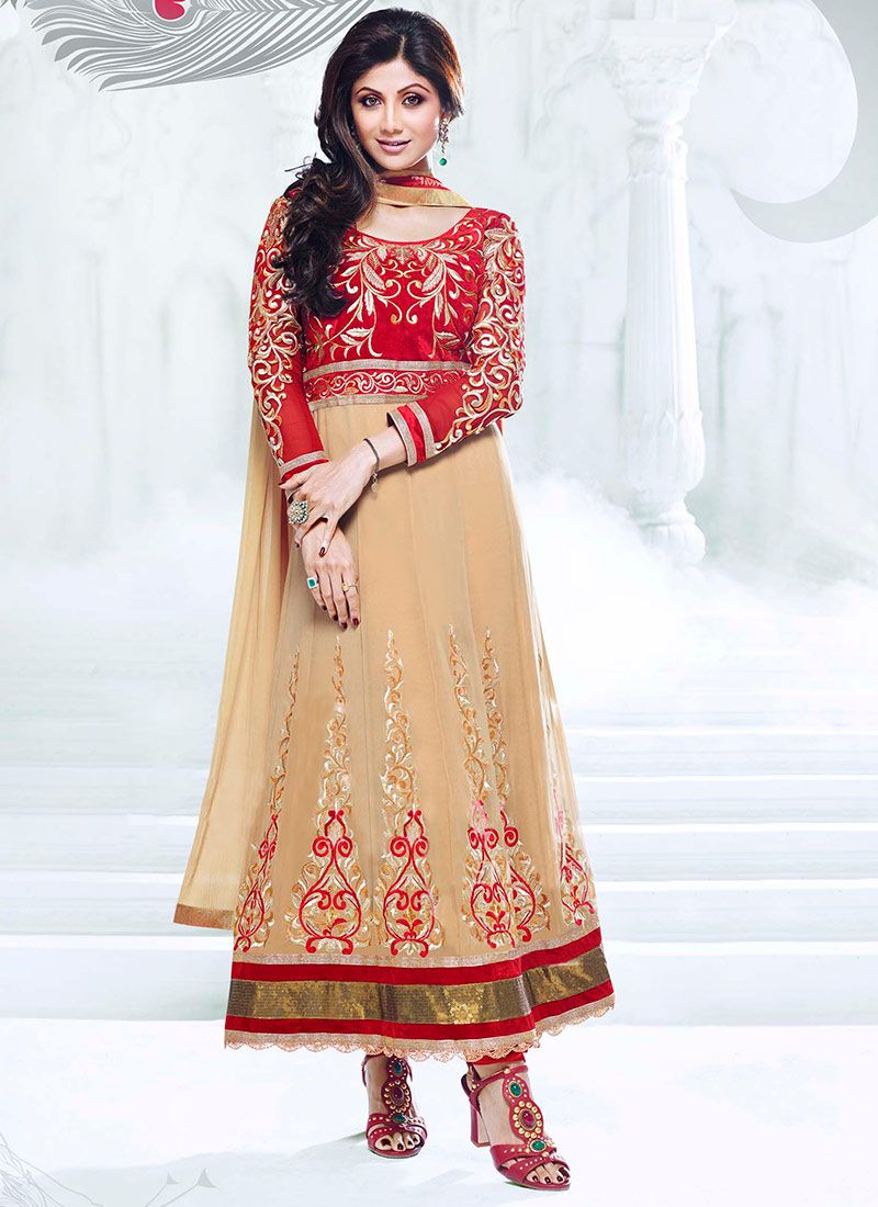 Shilpa Shetty Beige Anarkali Suit
