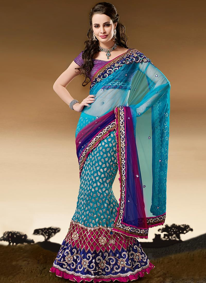 Turquoise Crush Georgette Lehenga Saree