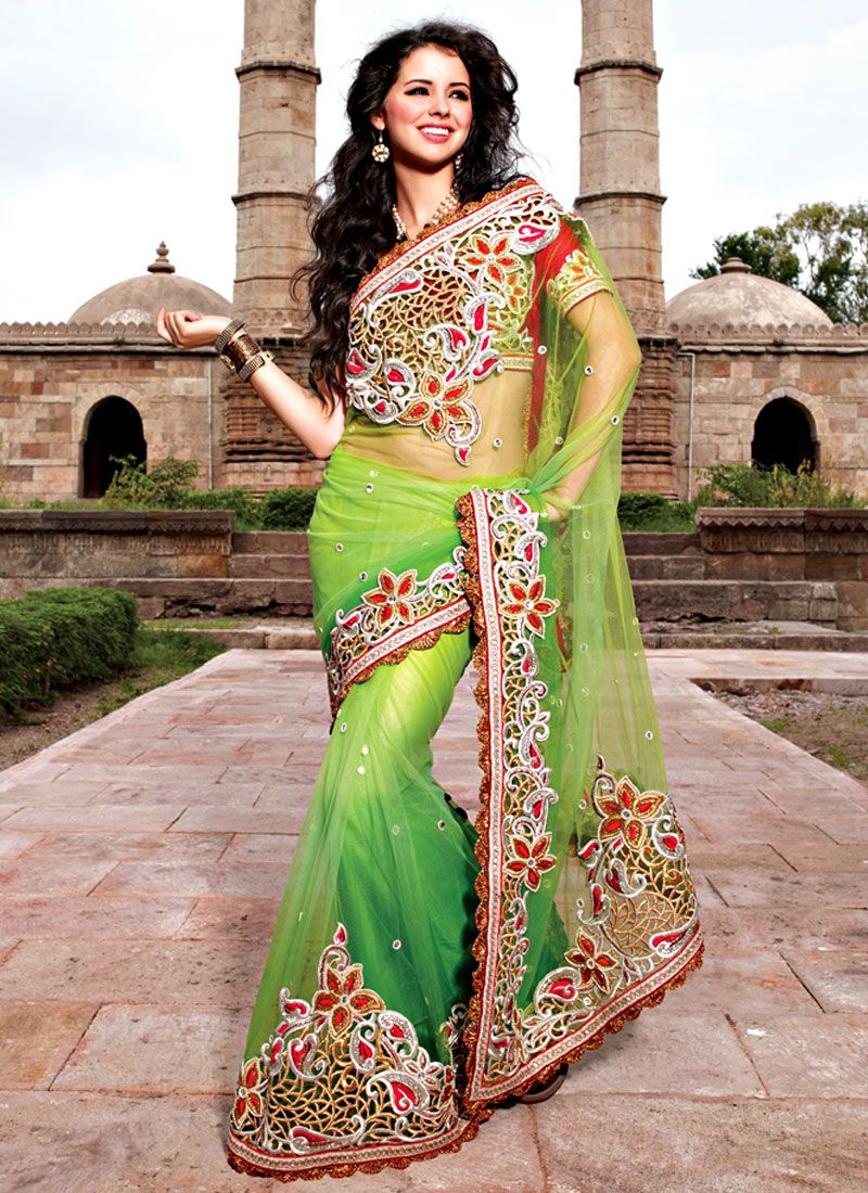 Mind Blowing Shaded Green Net Saree