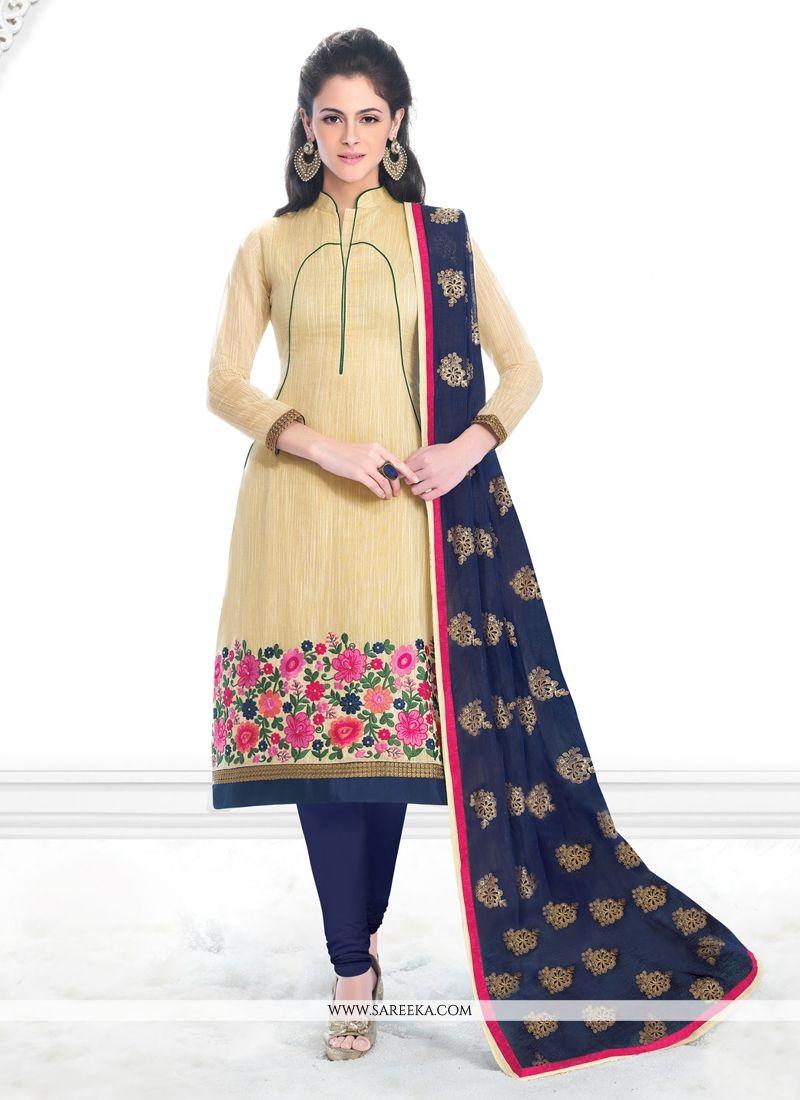Lace Work Cream Banarasi Silk Churidar Salwar Suit