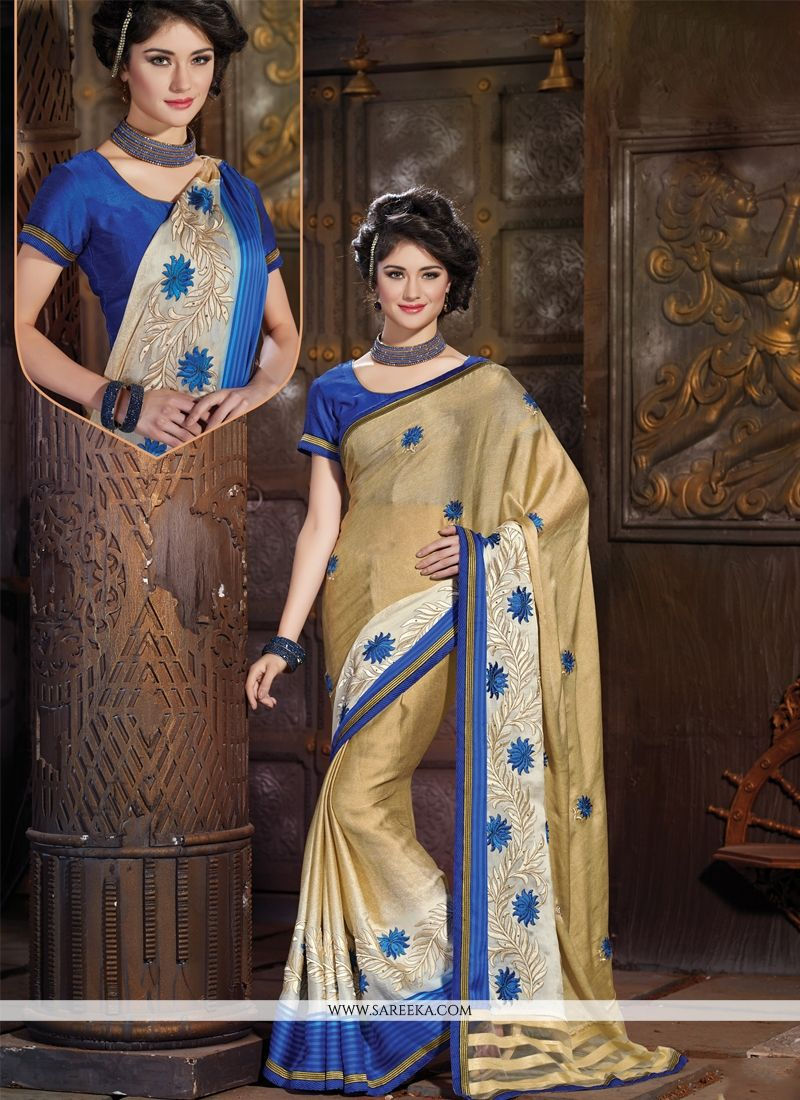 Multi Colour Embroidered Work Satin Designer Saree
