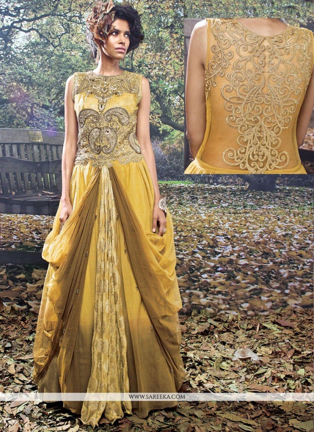 Resham Work Net Mustard and Brown Designer Gown