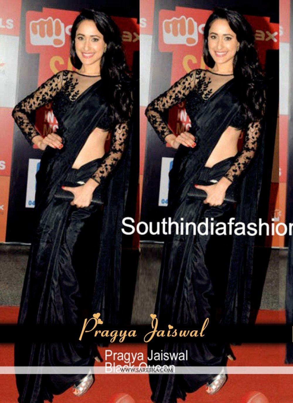 Satin Black Embroidered Work Bollywood Saree
