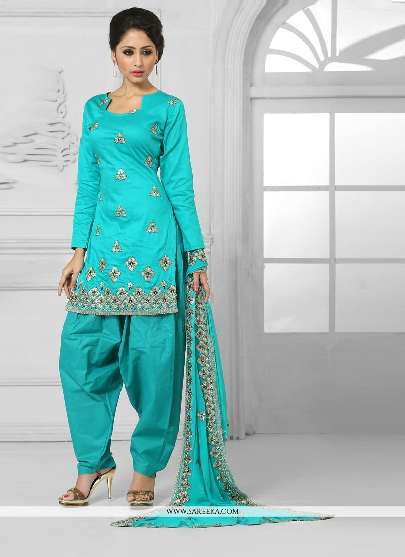 Turquoise Designer Patila Salwar Suit