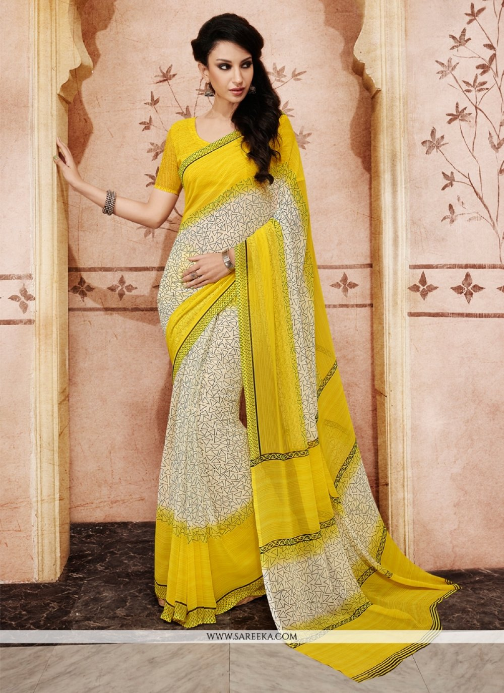 Beige and Yellow Casual Saree