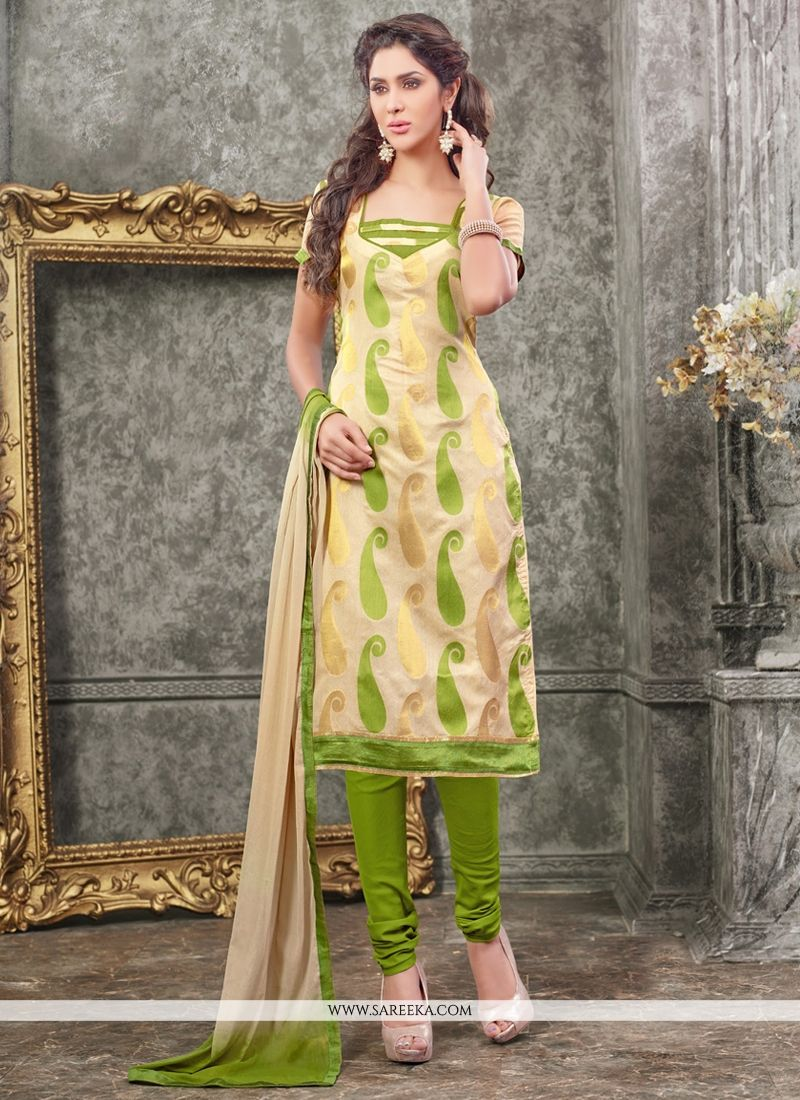 Lace Work Chanderi Churidar Designer Suit