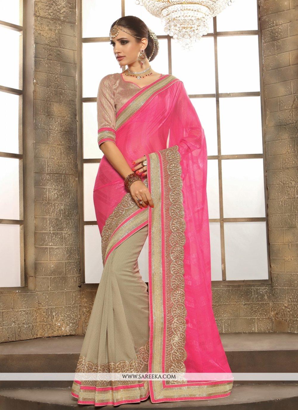 Lace Work Hot Pink Jacquard Designer Saree