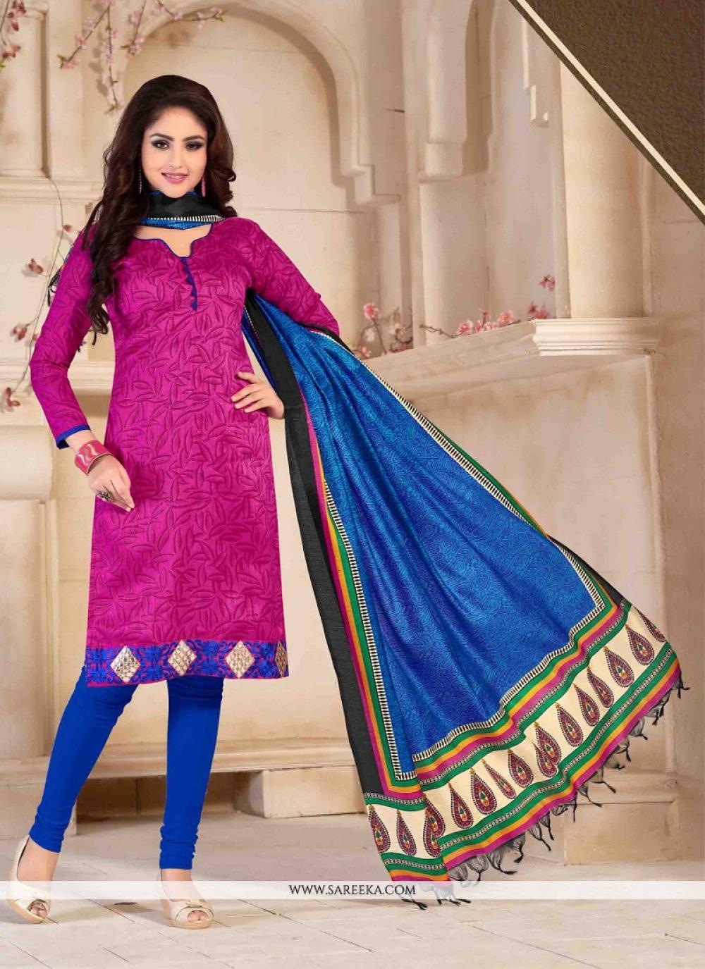 Print Work Banglori Silk Churidar Salwar Suit
