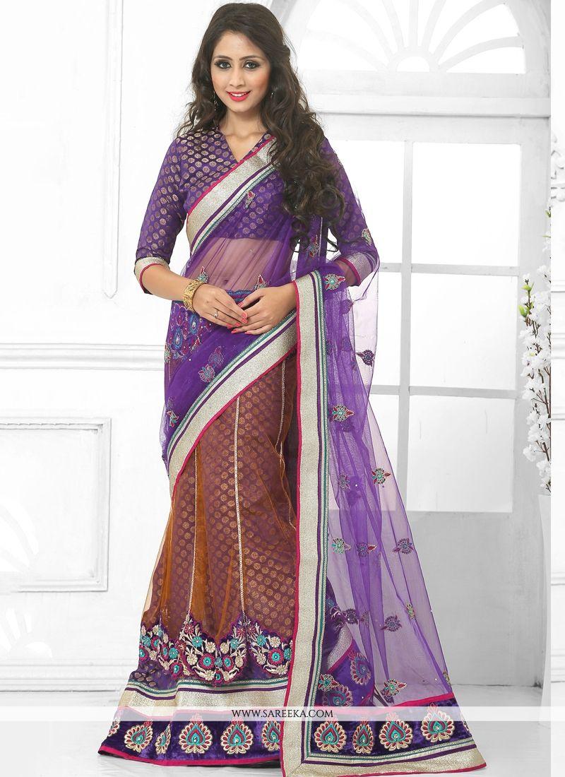 Purple Embroidered Work Lehenga Saree