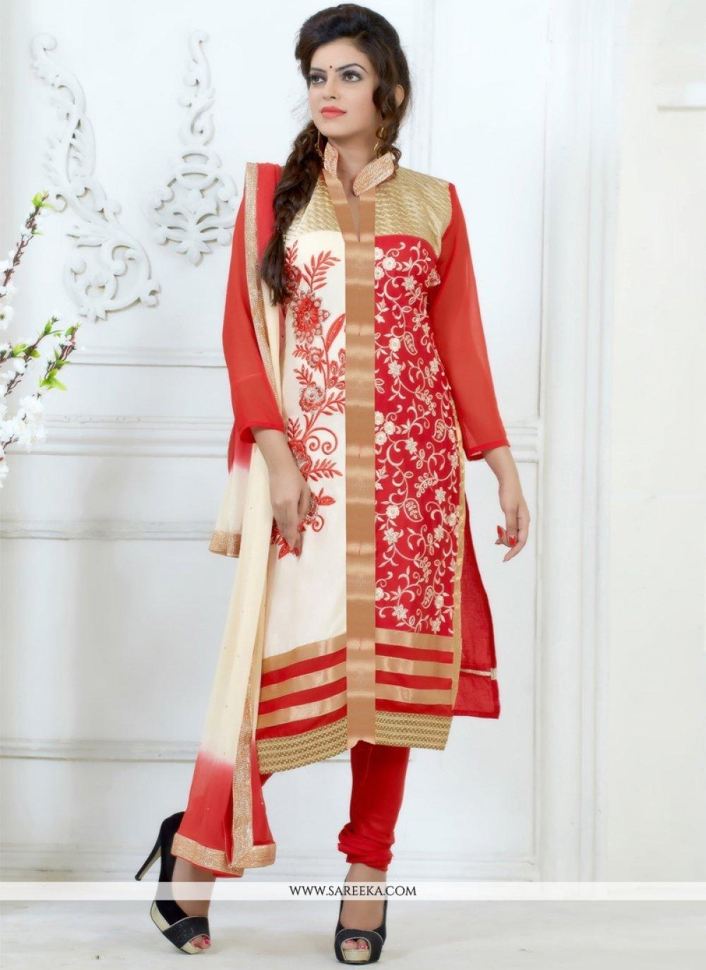 Resham Work Cream and Red Cotton   Churidar Salwar Kameez