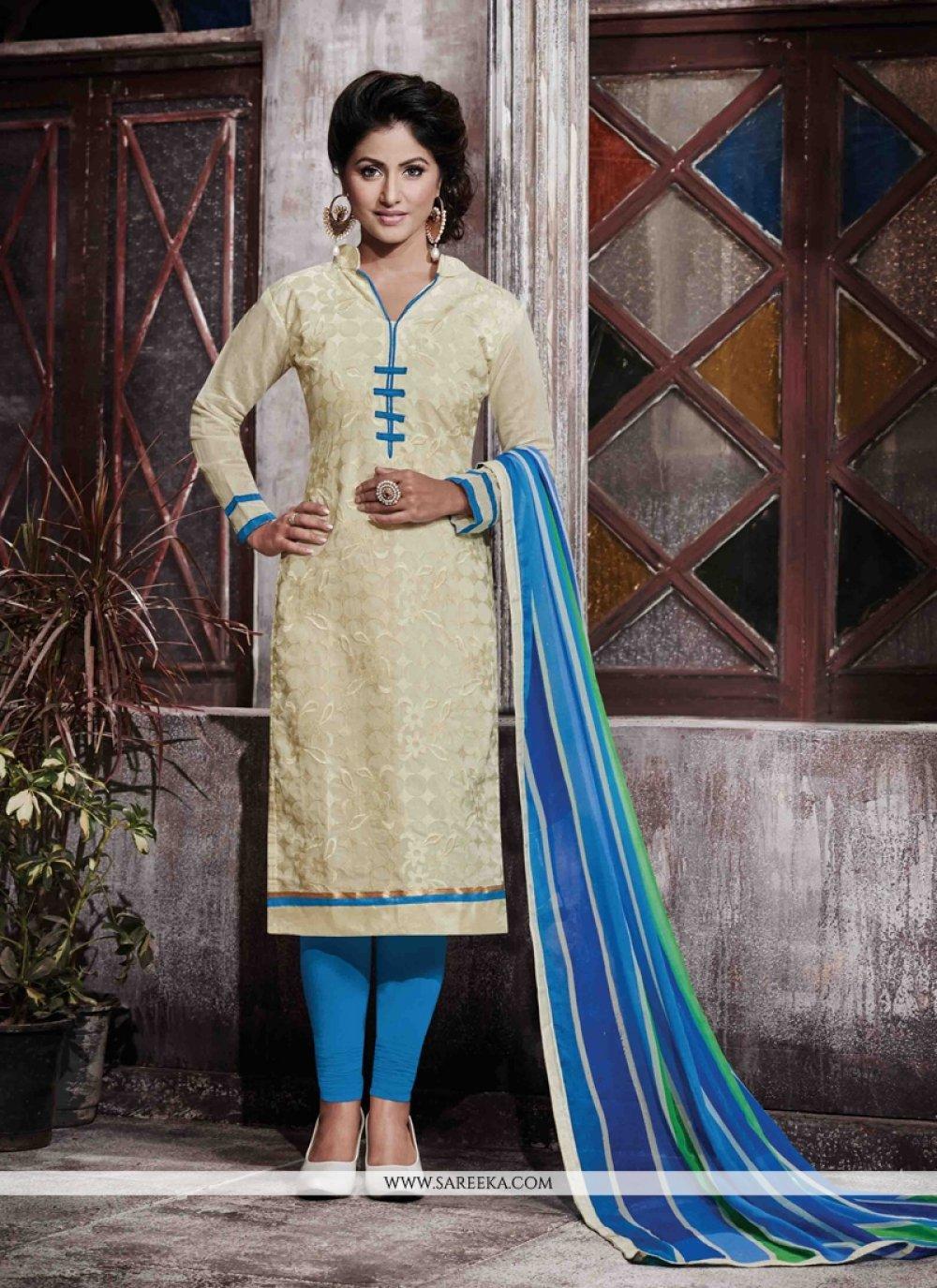 Cream Designer Straight Salwar Kameez