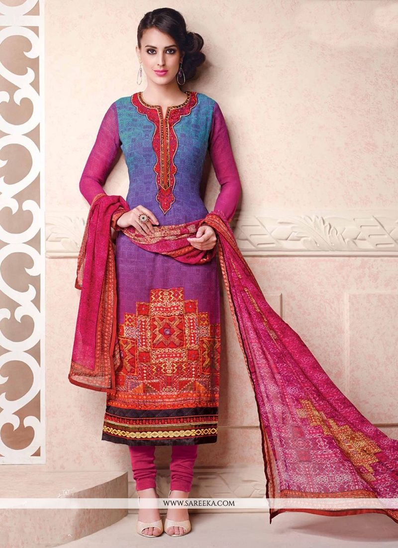 Georgette Blue Lace Work Churidar Salwar Kameez