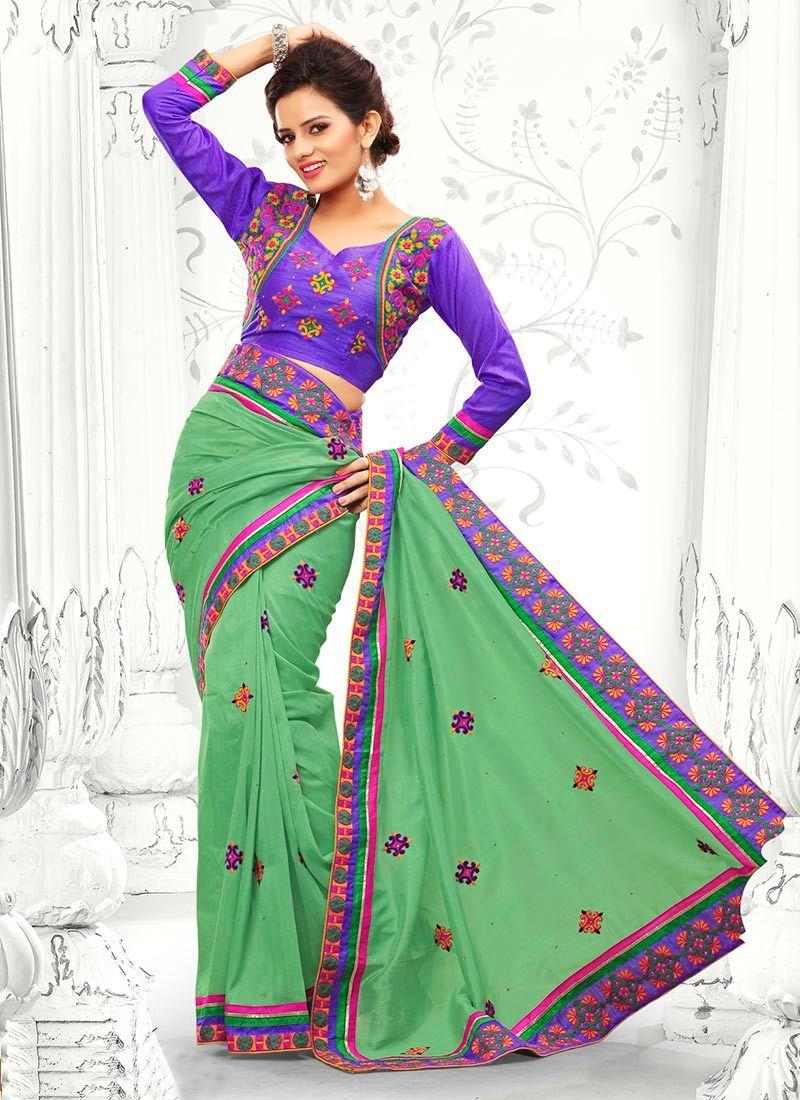 Green Resham Work Designer Saree