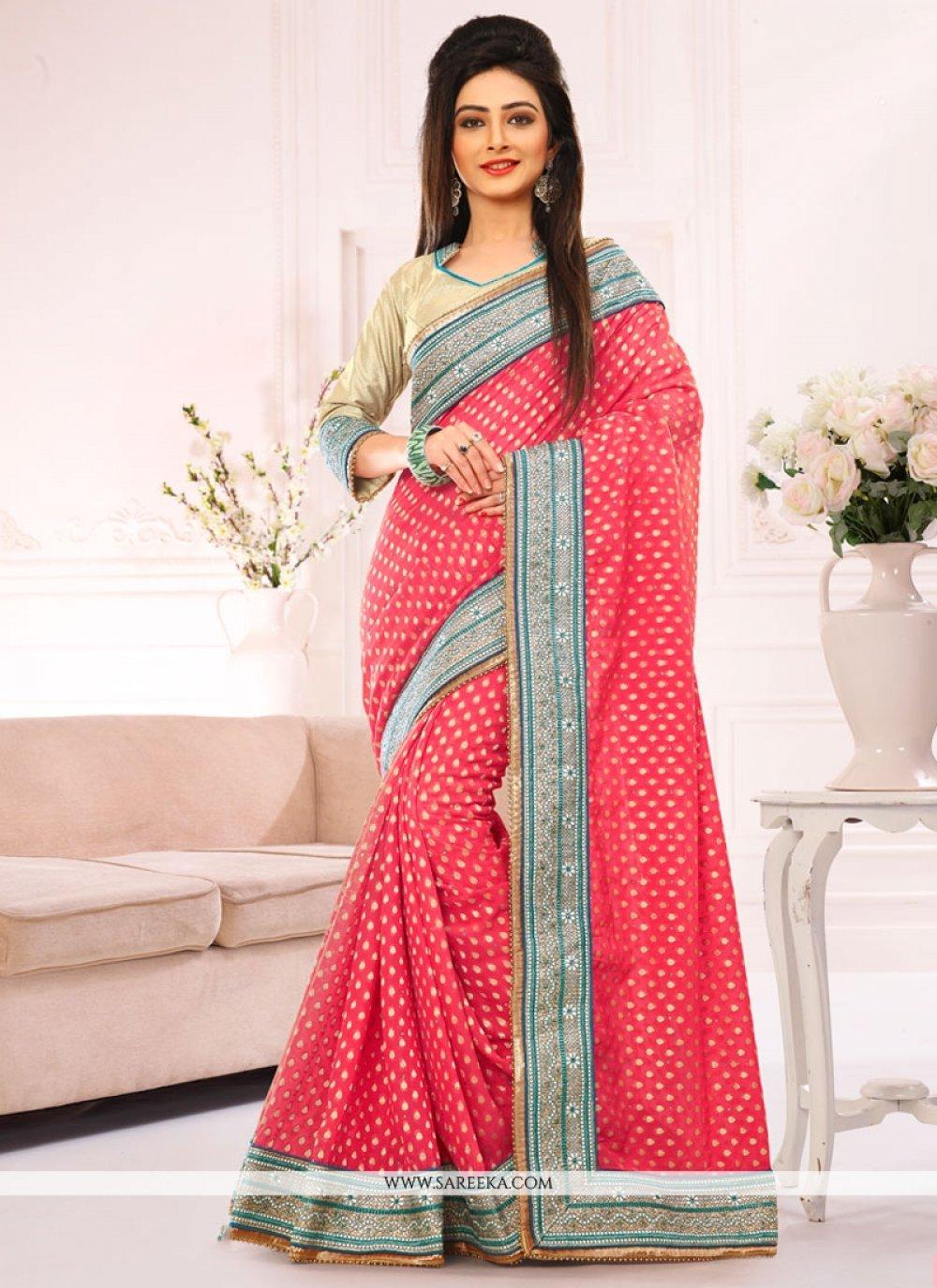 Jacquard Pink Designer Saree