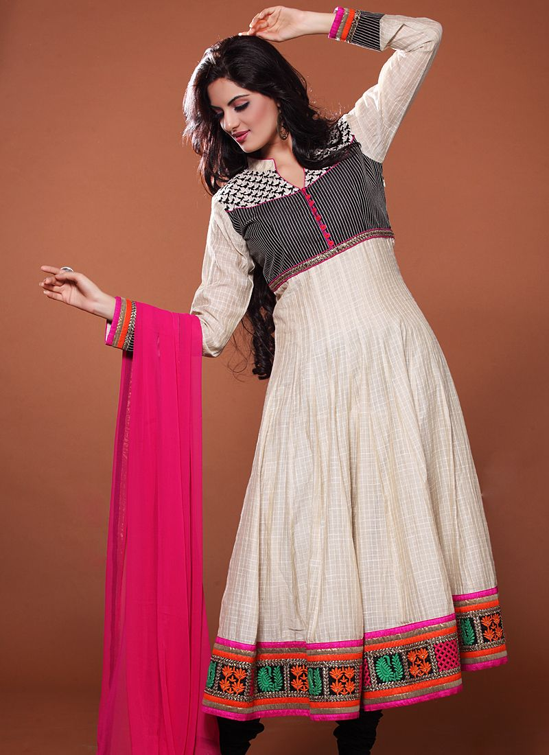 Off White And Pink Resham Work Anarkali Suit