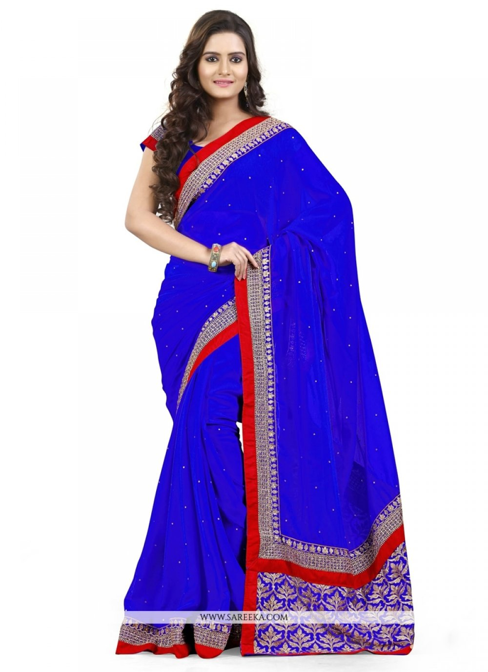 Embroidered Work Blue Designer Saree