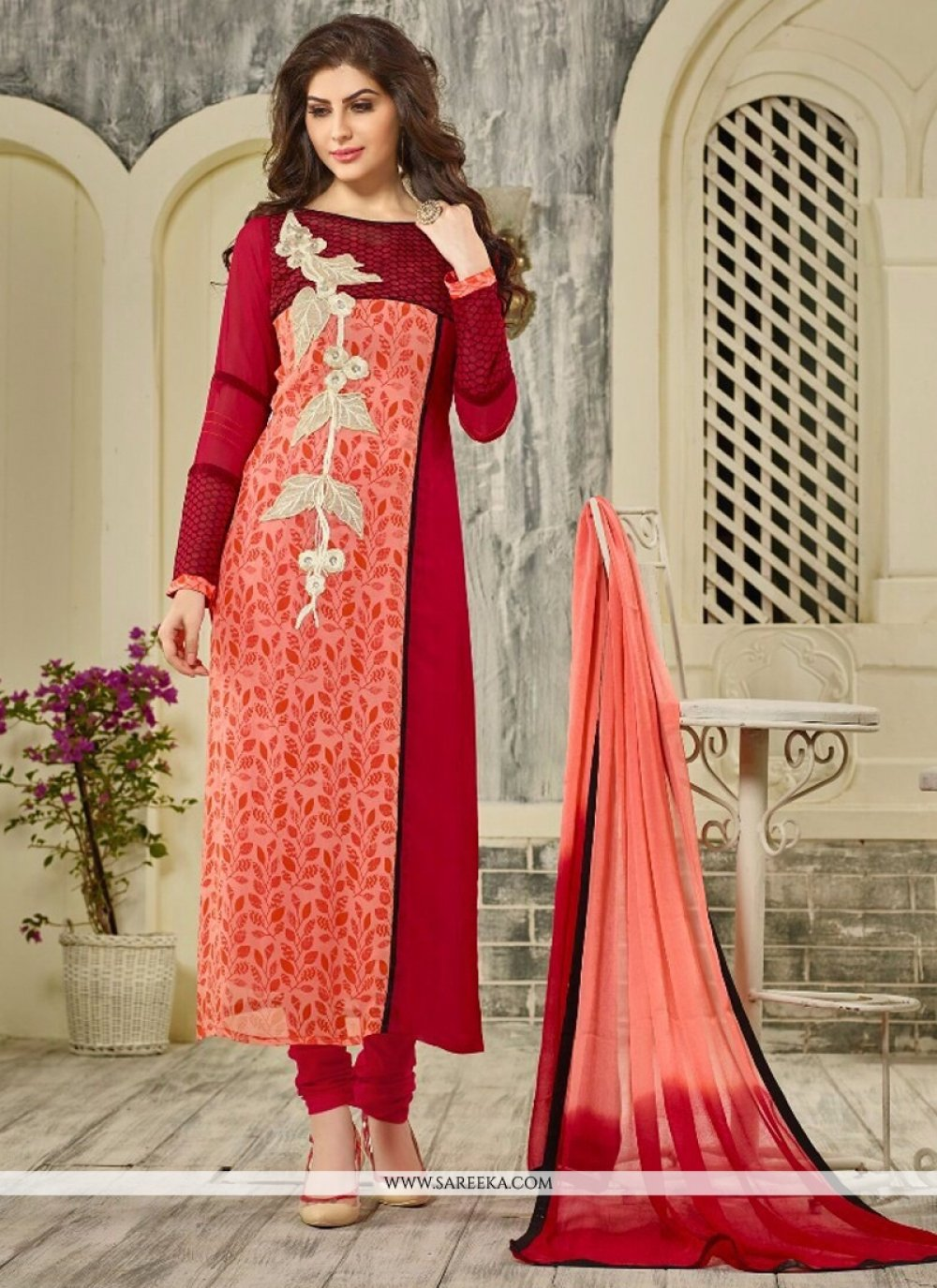 Georgette Red Embroidered Work Designer Straight Salwar Kameez