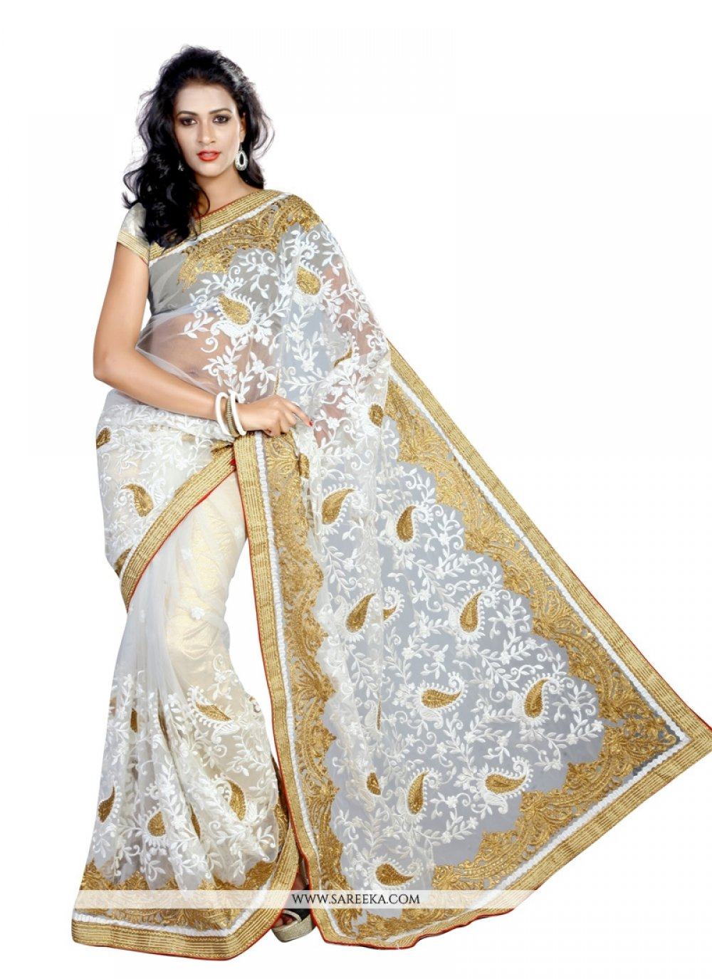 Lace Work Off White Designer Saree