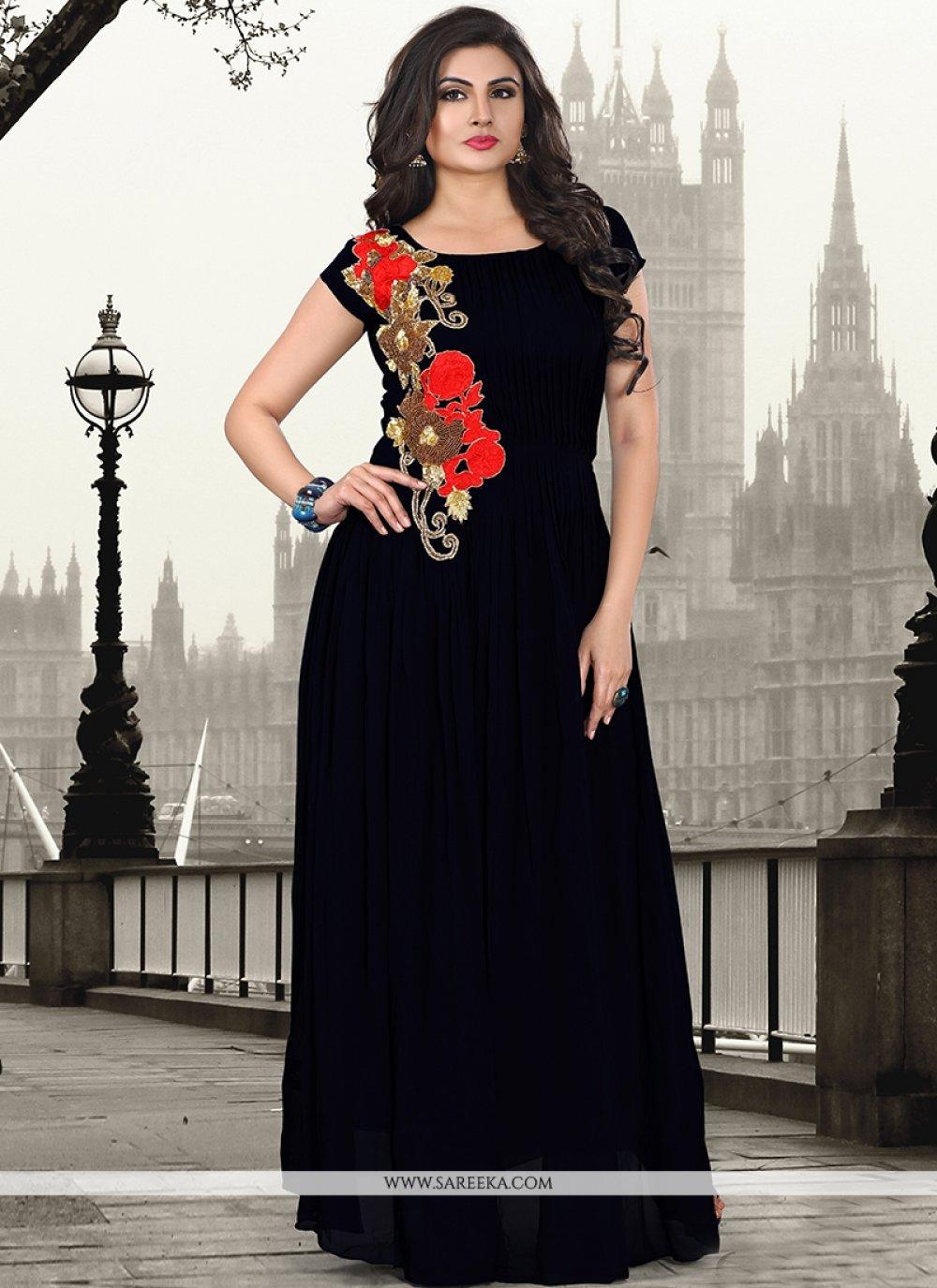 Pure Georgette Resham Work Designer Gown