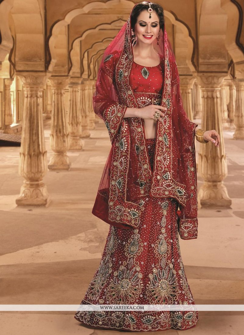 Red Resham Work Net A Line Lehenga Choli