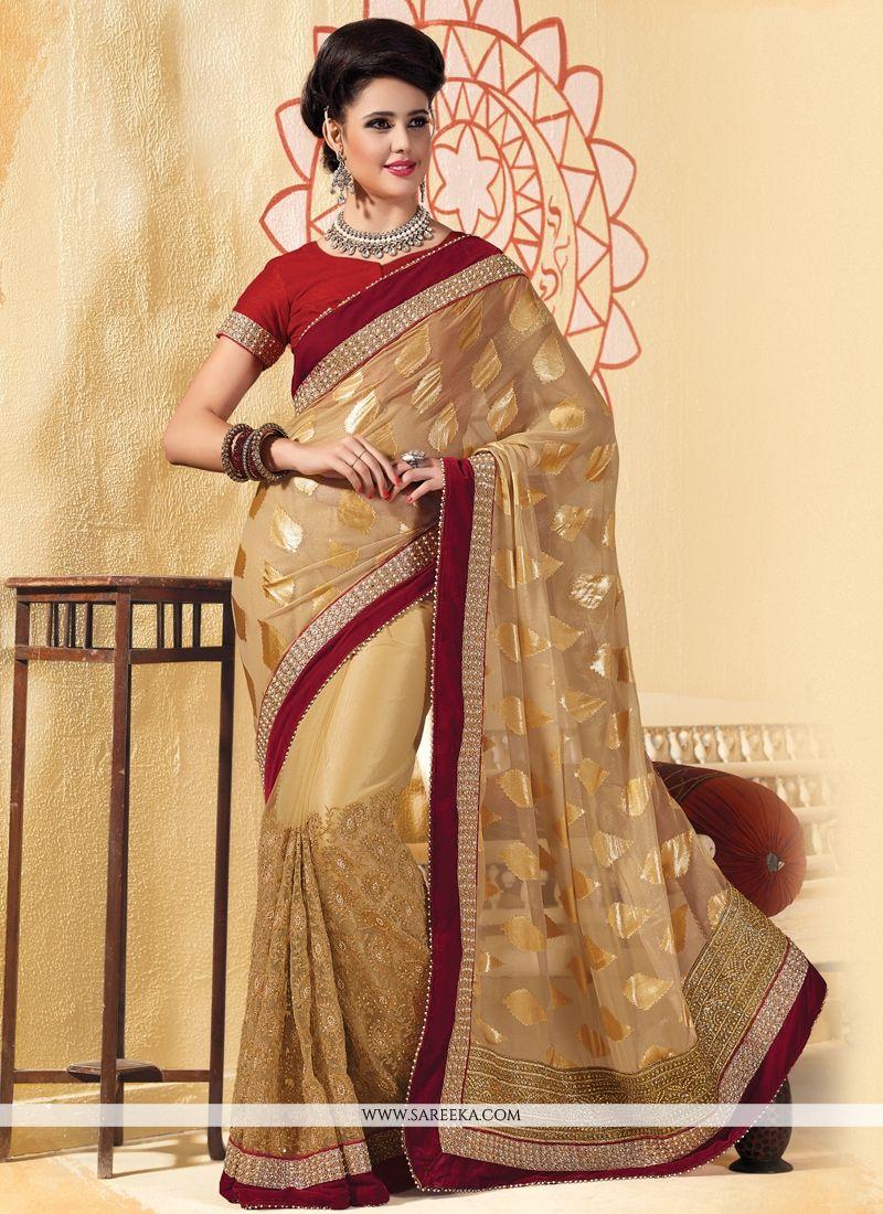 Resham Work Beige Designer Saree